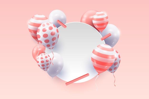 Realistische luftballons mit leerem fahnenkonzept