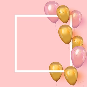 Realistische luftballons um den rahmen