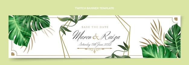 Realistische luxus-goldene hochzeit twitch-banner