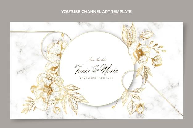 Realistische luxus-goldene hochzeit youtube-kanalkunst channel Kostenlosen Vektoren