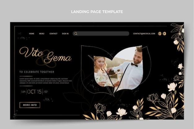 Realistische luxus-landingpage für die goldene hochzeit