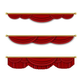 Realistische luxus vorhang gesims dekor haushaltsstoff innenvorhang textil lambrequin