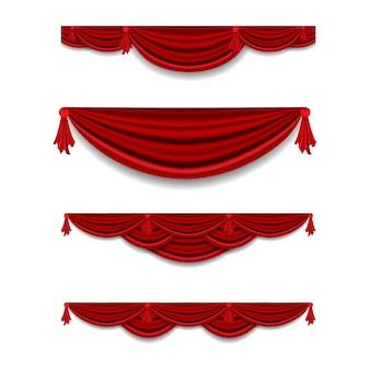 Realistische luxusvorhang gesims dekor haushaltsstoff innenvorhang textil lambrequin, illustration vorhänge