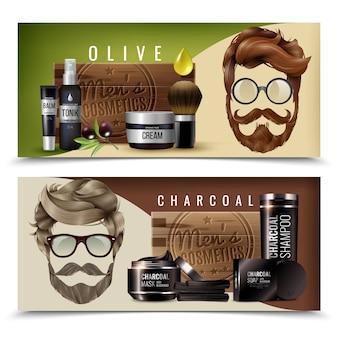 Realistische männliche kosmetik-fahnen
