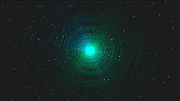 Realistische magie green spiral black hole auf galaxy background.planet und physik konzeptdesign.
