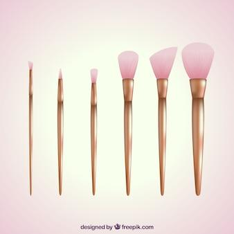 Realistische make-up pinsel sammlung
