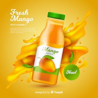 Realistische mangosaft anzeigenvorlage