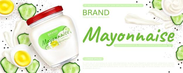 Realistische mayo-glas-promo