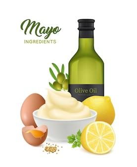 Realistische mayonnaise-illustration
