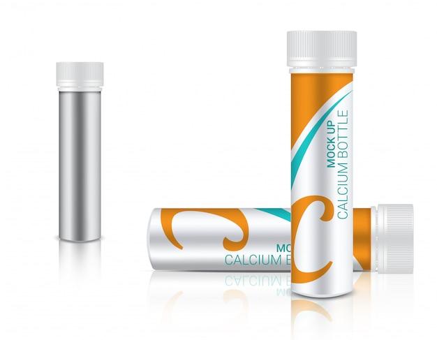 Realistische medizinflasche für kalziumpille