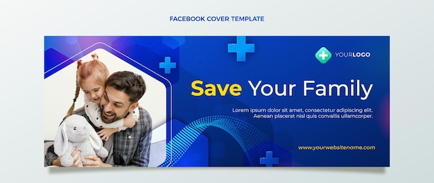 Realistische medizinische facebook-cover-vorlage
