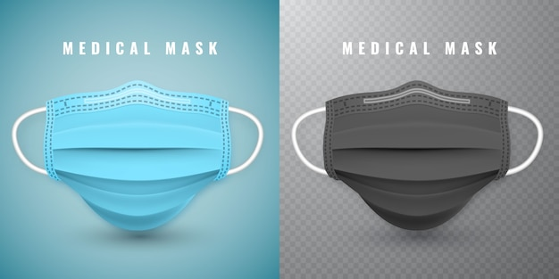 Realistische medizinische gesichtsmaske. details 3d medizinische maske.