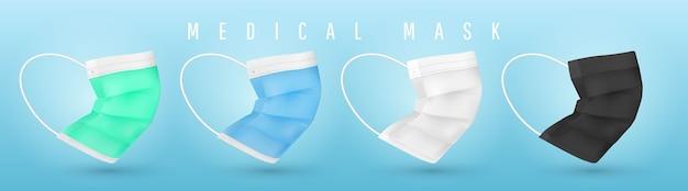 Realistische medizinische gesichtsmaske. details medizinische maske.