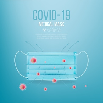 Realistische medizinische maskenillustration. coronavirus schutz