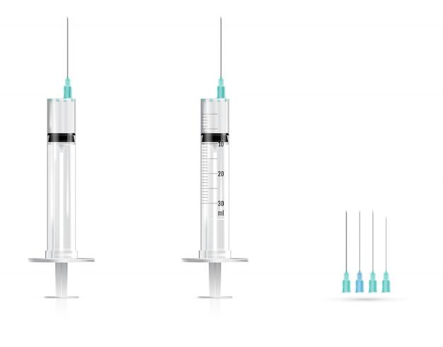 Realistische medizinische spritzen und nadeln gesetzt