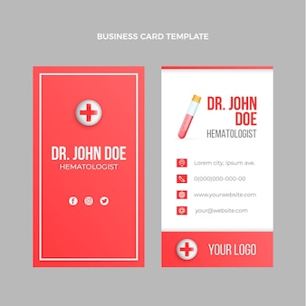 Realistische medizinische vertikale visitenkarte