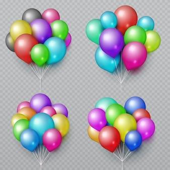 Realistische mehrfarbenballonbündel lokalisiert. hochzeits- und geburtstagsfeierdekorations-vektorelemente. set der farbenluftballon-bündelillustration