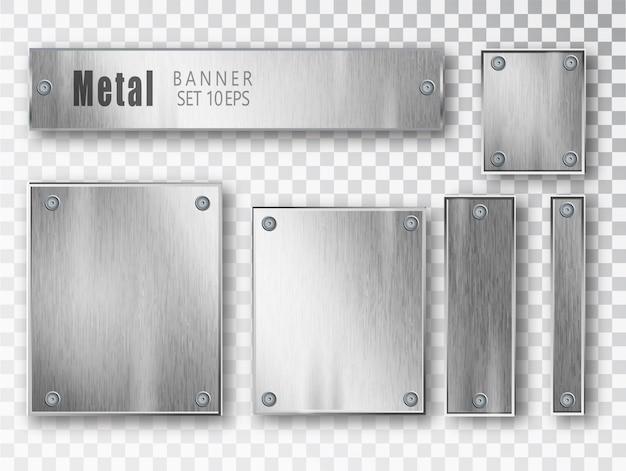 Realistische metallbannerkomposition