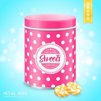 Realistische metallbox für süßigkeiten