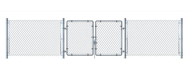 Realistische metalldrahtzaun- und -torausführliche illustration lokalisiert auf weißem hintergrund.