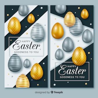 Realistische metallische eier ostern banner