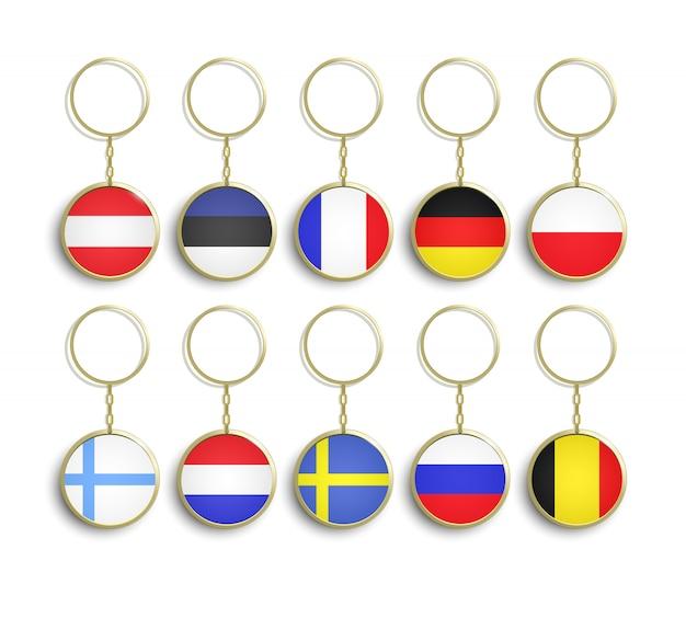 Realistische metallschlüsselanhänger mit flagge