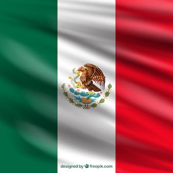 Realistische mexikanische flagge hintergrund