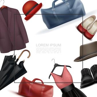 Realistische moderne garderobenelementvorlage mit platz für textbeutel männliches und weibliches schuhkleid auf kleiderbügel fedora hüte jacke regenschirm