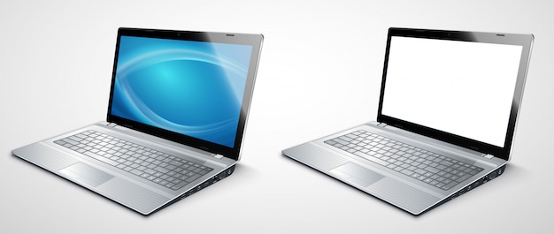 Realistische moderne laptop-vorlage für präsentationen