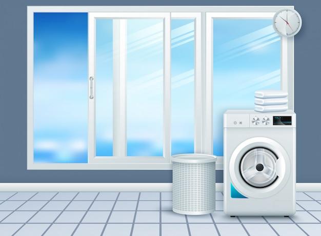Realistische moderne weiße stahlwaschmaschinenahaufnahme