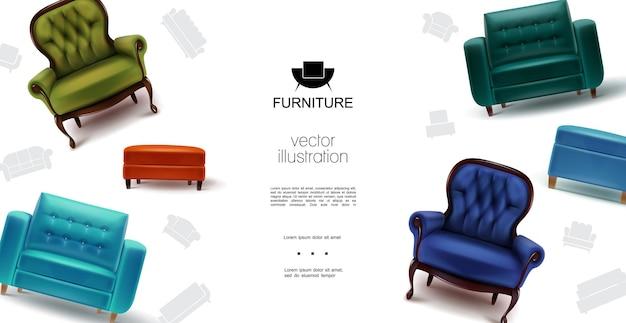 Realistische möbelobjektschablone mit weichen bunten sesseln, stühlen und tabourets
