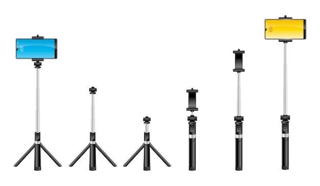Realistische monopods selfie stick isoliert teleskopischer smartphonehalter foto selbstporträt