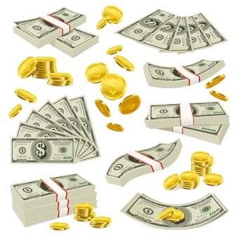 Realistische münzen und banknoten geld set