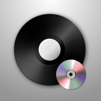 Realistische musik grammophon vinyl lp platte und cd icons. vorlage.