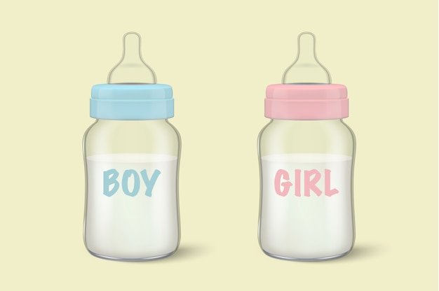 Realistische muttermutter-muttermilch in zwei babymilchflaschen für jungen - blau - und mädchen - rosa - symbol-set-nahaufnahme. sterile leere milchbehälterschablone für grafiken