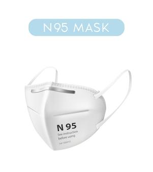 Realistische n95 gesichtsmaskenillustration auf weißem hintergrund. krankenhaus oder umweltverschmutzung schützen die gesichtsmaskierung
