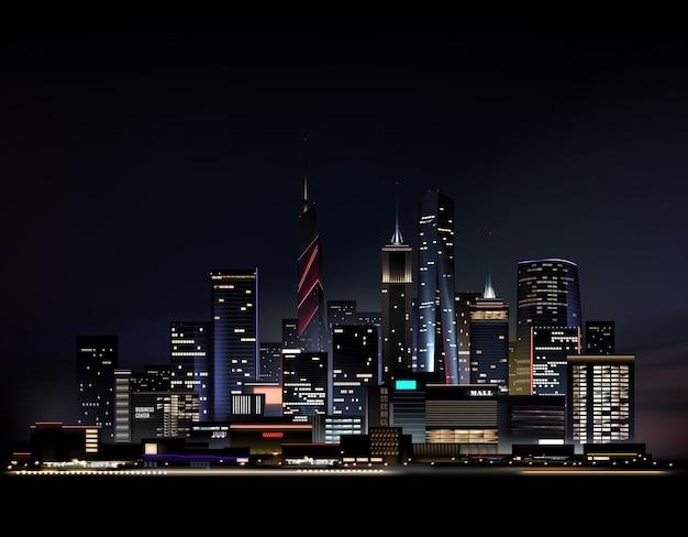 Realistische nachtstadtlandschaft mit wolkenkratzern