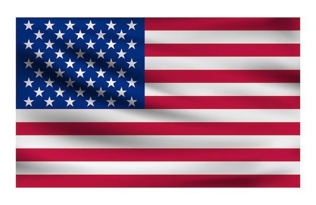Realistische nationalflagge der usa aktuelle staatsflagge aus stoff