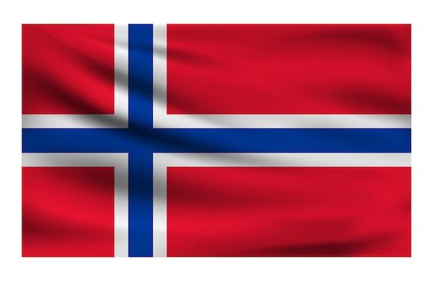 Realistische nationalflagge von norwegen