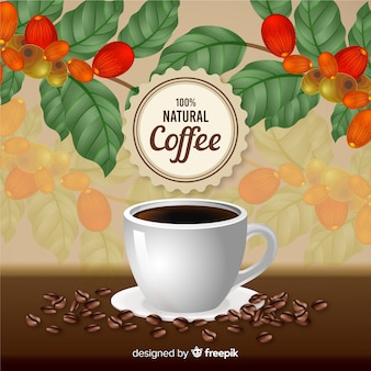 Realistische natürliche kaffeeanzeige im vintage-stil