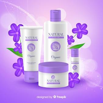 Realistische natürliche kosmetische werbung