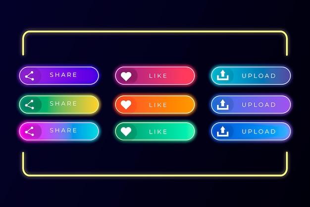 Realistische neon-call-to-action-button-sammlung