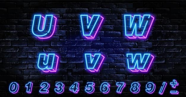 Realistische neonbuchstaben eingestellt über dunkle backsteinmauer