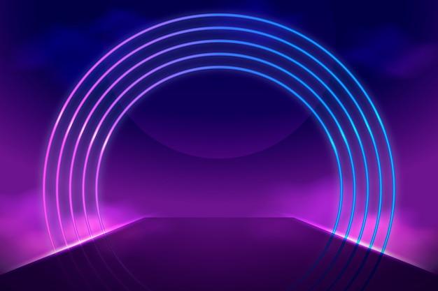 Realistische neonlichter kreisen formhintergrund ein