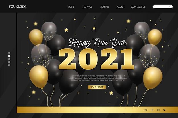 Realistische neujahrs-landingpage-vorlage