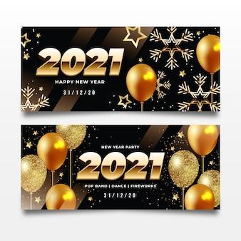 Realistische neujahrs-partybanner 2021