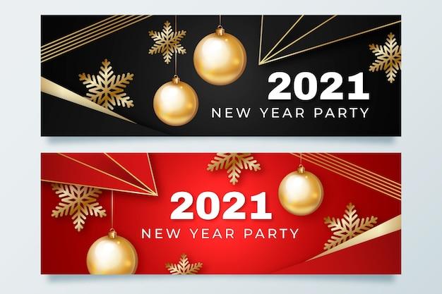Realistische neujahrsfeier 2021 party banner vorlage