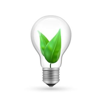 Realistische öko-glühbirne lokalisiert auf weißem hintergrund. energiewirtschaft lampenillustration