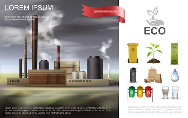 Realistische ökologische umweltzusammensetzung mit industriellen recycling-mülleimern papiertüten