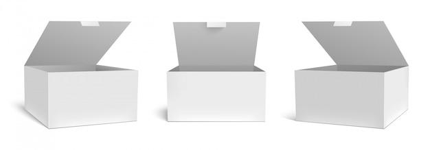Realistische offene box. weiße verpackungsgeschenkboxen, geöffnete verpackung und leeres rechteckiges verpackungsschablonenset. quadratischer karton paketbehälter, medizinische fallkarton cliparts sammlung